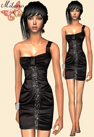 Satin one shoulder black dress with glitter details and silver fashion sandals.