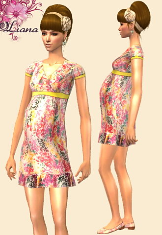 maternity dress - print dress with yellow ribbon
