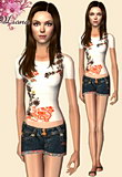white shirt with floral brown and orange designs and fun denim shorts