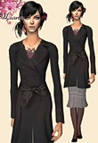 black slicker with satin tie with grey skirt