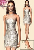 Silver fringe dress with transparent top bu Jenny Packman and designer sandals.