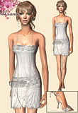 Glittery silver mini dress with long pearls and jeweled sandals.
