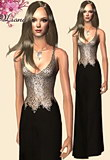 Long, fluid black dress with golden embedded beads.