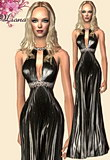 Halter maxi dress with fluid pleats and Swarowski crystals.