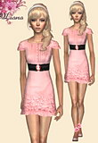 Mini ruffles belted dress featuring a stretch belt and a cameo brooch style buckle